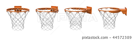 3d rendering of a set made of four basketball baskets with orange loop and fixing bracket. 44572389