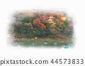 Arashiyama Togetsubashi upstream area boating, autumn leaves in Kyoto, Japan 44573833