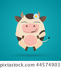 Vector cartoon illustration of funny egg shaped smiling cow 44574903