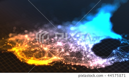 glowing city and human population density areas with linear connections between them. view of 44575871