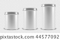 Vector Realistic 3d White Blank Metal Tin Can Container Set Closeup Isolated on Transparent 44577092
