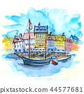 Watercolor sketch of Nyhavn, Copenhagen, Denmark. 44577681