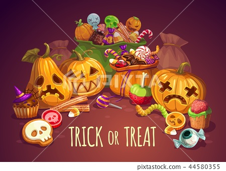 Trick or treat, Halloween holiday, pumpkins 44580355