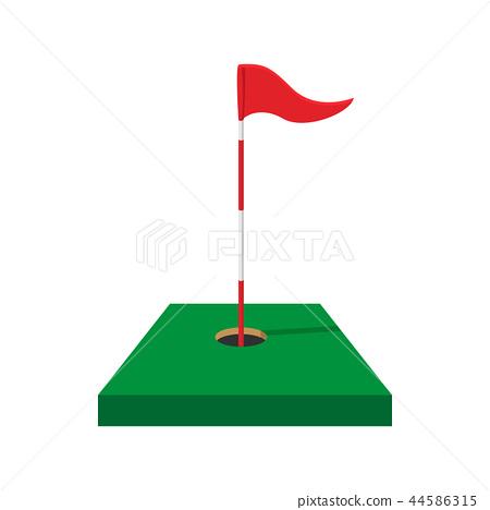 Red golf flag cartoon icon - ภาพประกอบสต็อก [44586315] - PIXTA