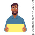 African man holding blank card 44587209