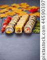 Fresh made Sushi set with salmon. Traditional Japanese food 44590397