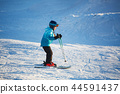 Morning walk of a girl in skiing in the mountains 44591437