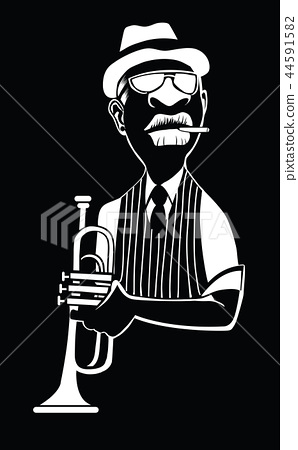 Caricature of a jazz trumpet player 44591582