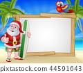 Santa Claus Surf Beach Christmas Cartoon Sign 44591643