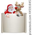 Christmas Santa Claus and Reindeer Cartoon Sign 44591645