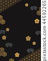 黑色和金色日本模式背景 44592265