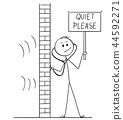 Cartoon of Man Using Stethoscope or Phonendoscope To Spy And Holding Quiet Please Sign 44592271