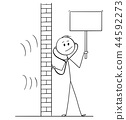 Cartoon of Man Using Stethoscope or Phonendoscope To Spy And Holding Empty Sign 44592273