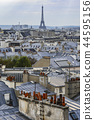 The roofs of Paris and its chimneys under a clouds sky 44595156