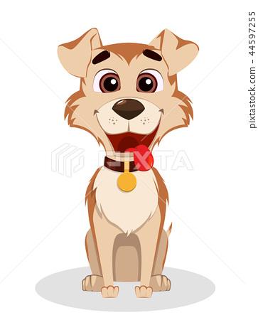 Cute funny dog. Puppy cartoon character 44597255