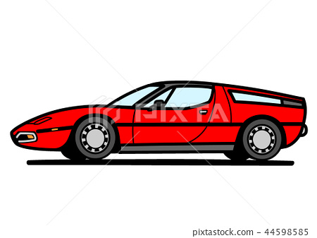Italian sports coupe red car illustration 44598585