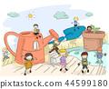 Stickman Kids Gardening Tools Explore Illustration 44599180