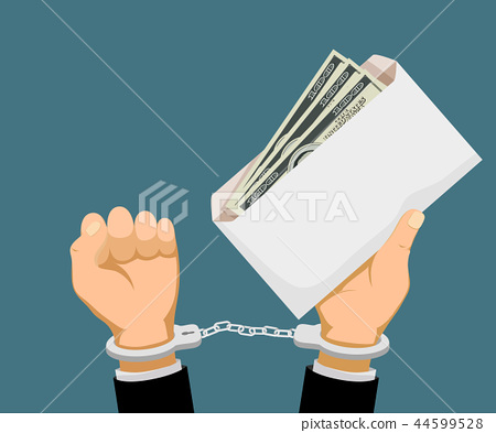 Man in handcuffs holds an envelope with dollar  44599528