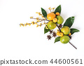Christmas floral composition. Decorative corner, branch of tangerine citrus fruit and leaves, anise 44600561