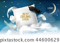 illustration with realistic 3d square pillow with blindfold on it for the best dreams ever 44600629