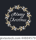 Merry Christmas Wreath with leaves and floral patterns. Vector illustration 44604579