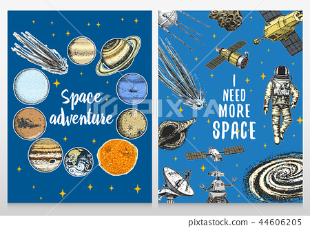 card planets in solar system and astronaut spaceman. moon and the sun, mercury and earth, mars and 44606205