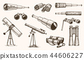 Binoculars or field glasses. Military set. vintage telescopes and optical equipment. engraved hand 44606227