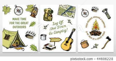 Set of camping cards  poster or print template  outdoor adventure