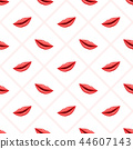 Seamless pattern pink lips on striped background 44607143