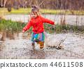 girl, puddle, playful 44611508