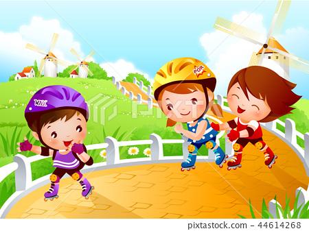 어린이,스포츠,일러스트 44614268