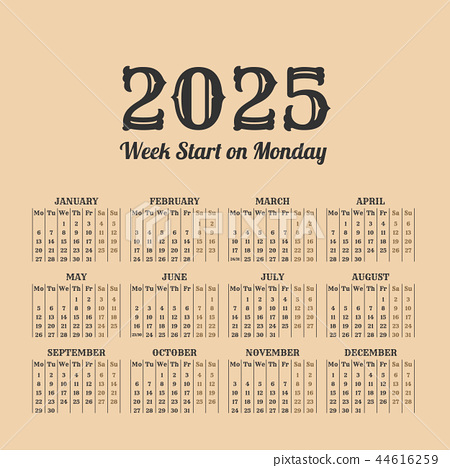 2025 year vintage calendar. Weeks start on monday 44616259
