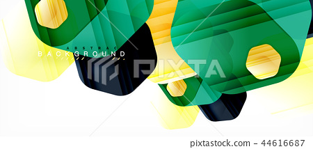 Vector multicolored hexagons geometric abstract background 44616687