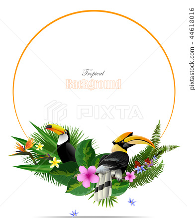 Tropical leaf background in greeting template. 44618016