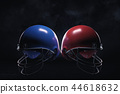 3d rendering of a blue and a red American football helmets hanging near each other on a dark 44618632