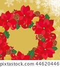 poinsettia, lease, wreath 44620446