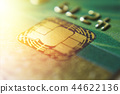 Gold credit cards close up. Macro shot smart card, credit card chip 44622136