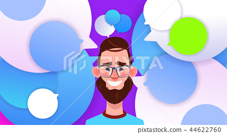 profile new idea chat support over bubbles backgroung male emotion avatar, man cartoon icon portrait 44622760