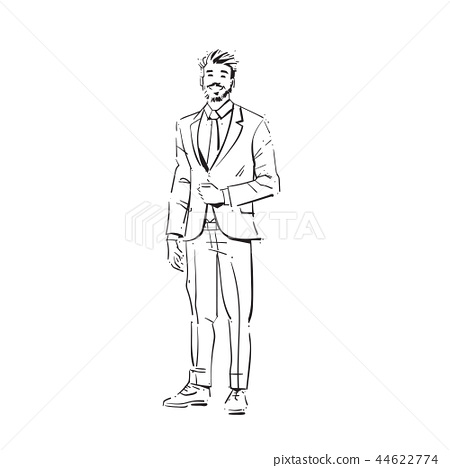 business man executive concept businessman full length on white background hand draw silhouette 44622774