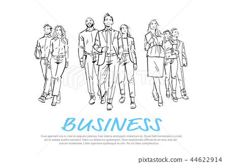 Sketch businesspeople team step forward on white background, leader in front of team of successful 44622914