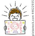例證材料:顯示祖母畫象的男孩 44622935