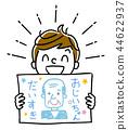 例證材料:顯示祖父畫象的男孩 44622937
