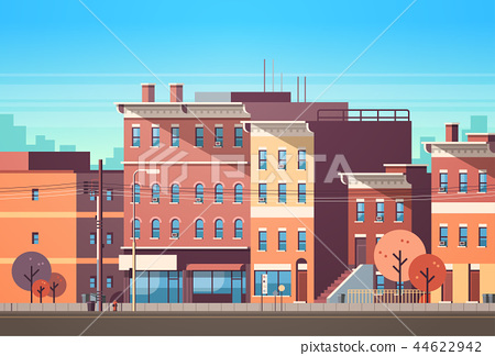city building houses view skyline background real estate cute town concept horizontal flat vector 44622942