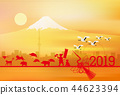Mt. Fuji New Year's card background 44623394