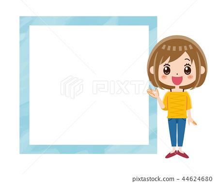 女人和框架的微笑 44624680