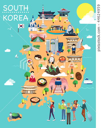 Map Of Korea Attractions Vector And Illustration. 44624959