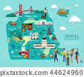 San Francisco Attractions Vector And Illustration. 44624960