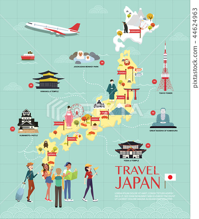 Map Of Japan Attractions Vector And Illustration. 44624963