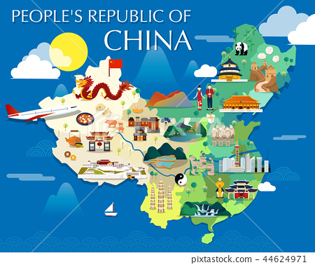Map Of China Attractions Vector And Illustration. 44624971
