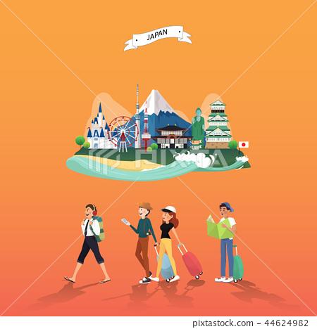 Attraction landmarks in Japan illustration design 44624982